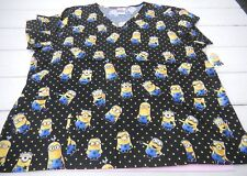 Nwt Despicable Me Minions Print Nurses Scrub top Sz 3X plus size polka dot #sc