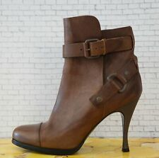 BALENCIAGA 35 Brown Leather Buckle Ankle Boots Booties 5