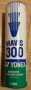 6 x Yonex Mavis 300 Nylon Badminton Shuttlecocks - Blue Middle White