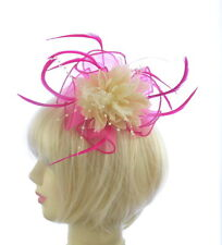 hot pink and cream fascinator  hair comb, Weddings, Races, Prom