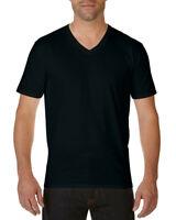 BLACK MENS PREMIUM V NECK T-SHIRT - Gildan 100% Cotton Plain T SHIRT