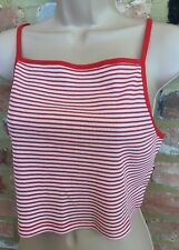 BNWT NEW LOOK 18 Jodie Red White Stripe Crop Cami Top