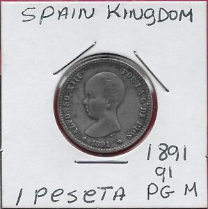 SPAIN KINGDOM 1 PESETA 1891 PG-M (91) ALFONSO XIII,TODDLER'S HEAD LEFT,CROWNED A
