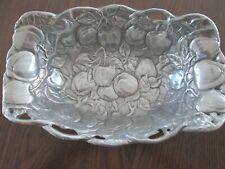 Large Arthur Court Silver Colored Aluminum Centerpiece Bowl~ Apples 1992