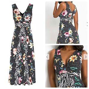 Ladies Black Mix Dress Size XL BODYFLIRT BOUTIQUE Stretchy Print Plus NEW NWOT