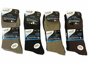 New Men's Socks Non Elastic Soft Top Diabetic Fashion 100% Cotton 3,6,12 pairs