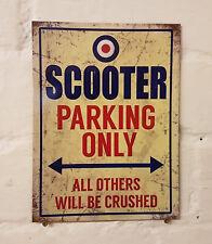 Scooter parking garage rétro en métal aluminium signe vintage, bar, pub, man cave