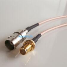BNC female jack to SMA female nut bulkhead RG316 cable pigtail 15cm