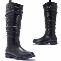 Ladies Women Mid Calf Boots Flat Heel Slouch Zip Biker Fashion Winter Boots Shoe