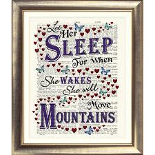 Pagina dizionario ART PRINT Ispiratore Citazione BABY GIRL VINTAGE lasciamo che la sua Sleep