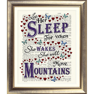 DICTIONARY PAGE ART PRINT Inspirational QUOTE Baby Girl VINTAGE Let Her Sleep