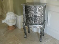 Blackened Silver Embossed 2 Drawer Bedside Table Cabinet side table new