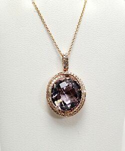 New! $4499 Effy Pink Amethyst Diamond 14k Rose Gold Pendant Necklace (5825)