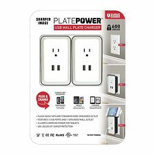 USB Wall Plate Charger 2 Pack Grounded Outlets & surge protection Sharper Image