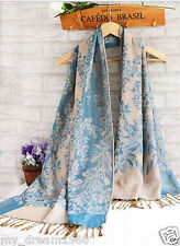 Fashion Women's Double Side Blue Floral 100% Pashmina Stole Scarf Shawl Wrap