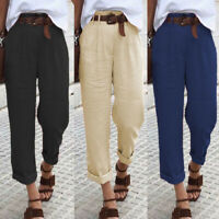ZANZEA Women High Waist Casual Long Pants Wide Legs Casual Trousers Baggy Pants