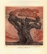 Old Tree, Original Limited Edition Etching Ex libris Graphic  by Herbert Kisza