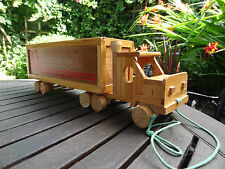 Vintage wooden toy truck with full wooden letters, handmade