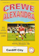 Crewe Alexandra v Cardiff City 10 Oct 1992 Football Programme