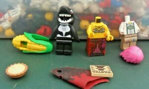 Lego Minifigures - Spares. Corn On The Cob, Shark Guy, Wanted Poster