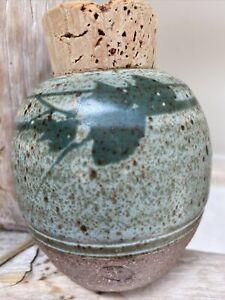 Contemporary Studio PotterySmall Jar w/ cork Stopper; Green Leaf Design Marked