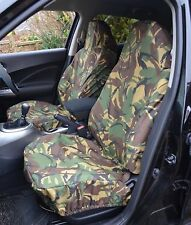 Car Van Front Pair of Green Camo Camouflage Waterproof Airbag Seat Covers ARMY