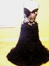 NWT $1299 Rina Di Montella LUX evening embroidered dress Ball gown Black/pink 14