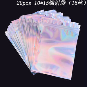 Pack of 50 Holographic Mylar Food Storage Bags Silver Aluminum Foil Heat Seal