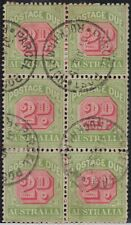 Stamps Australia postage due 2d red & green SGD65 large crown watermark block 6