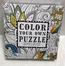 """Color Your Own Jigsaw Puzzle 300 Pieces Flower Cardinal NEW & Sealed 18 x 24"""""""