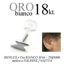 Piercing BIOFLEX LABRET TRAGO ORECCHIO SAETTA oro BIANCO 18kt. white GOLD