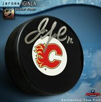 JAROME IGINLA Autographed Calgary Flames Puck - Colorado Avalanche