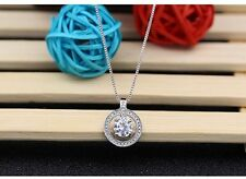 925 Sterling Silver Circle of Life White Clear CZ Pendant Necklace Gift Box S2