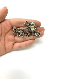 Vintage Art Deco Style Sterling Silver 925 Manual Wind Horse Carriage Brooch