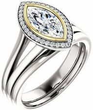 1.12 carat Marquise & round cut Diamond Halo Engagement 14k Two tone Gold Ring