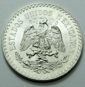 1944 UNC Mexico Un Peso Cap Rays National Arms Eagle Snake Silver Coin Libertad