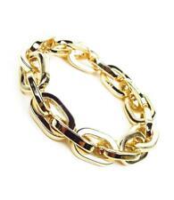 Chain Links Stretch Bracelet Cbr3294 Gorgeous Chunky Artisanal Gold Metal