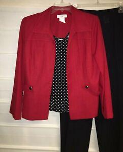 Miss Dorby Red Black White Polka Dot 3 pc Pants Suit Size 14 EC!