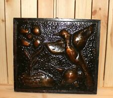 Vintage abstract wall hanging copper/wood plaque