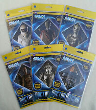SET 6 DOCTOR WHO COLLECTORS CONSTRUCTION CHARACTER FIGURES MEMROBILIA CARD GIFT