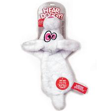 Quaker Hear Doggy Ultrasonic Flat Dog & Puppy Toy Super Soft Rabbit White NEW