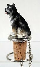 Alaskan Malamute Dog Hand Painted Resin Figurine Wine Bottle Stopper