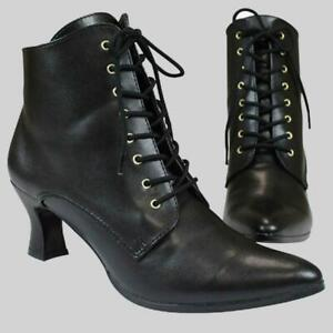 New Handmade Ladies Black Faux Leather Victorian Ankle Boot  Best Quality Shoes