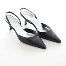 Jil Sander Designer Damen Schuhe Pumps Slingbacks Schwarz Leder Gr.38 Neu