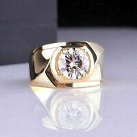 14K Yellow Gold GP 2.00 Ct Solitaire Diamond Wedding Engagement Men's Pinky Ring