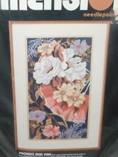 """Vtg 1990 Dimensions Peonies and Fan Needlepoint 10"""" x 18""""  Geri Geremia Kit 2372"""