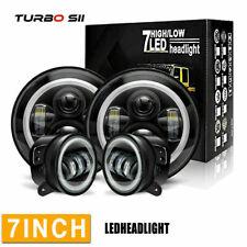 """For 2007-2016 Jeep Wrangle 7"""" 60W Halo LED Headlights+4"""" 30W LED Fog Light LXQ"""