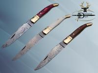 "Laguiole folding Damascus steel pocket knife 8.5"" hand forged, Leather sheath"