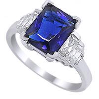 4CT Elegant Emerald Blue Sapphire & CZ Ring .925 Silver Sizes 5-10