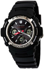 Casio G-Shock Analog-Digital Tough Solar Atomic 200m Black Resin Watch AWGM100-1